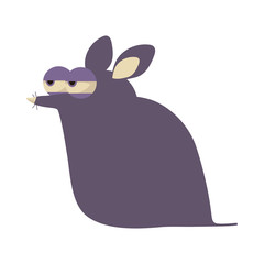 Illustration of a crafty purple suspicious cartoon mouse isolated on white background.
