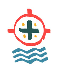 Religious cross and water symbol