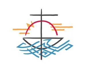 Religious cross, boat and sea symbol