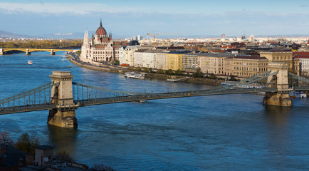 Hungarian Parliament building and Budapest Chain Bridge