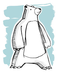 Polar bear vector ink illustration or drawing