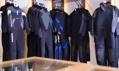 Image of the different underwater  costumes for diving