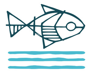 Fish and water symbol vector ink illustration