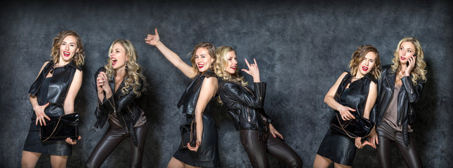 combined frame of three photos of cheerful and active girl friends on a gray Studio background