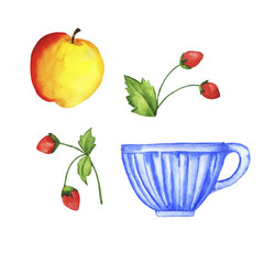 Set of blue cup, apple and strawberries isolated on white background. Hand drawn watercolor illustration.