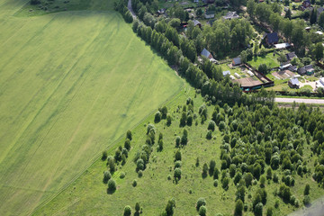 Aerial View - Russian village, meadows and fields