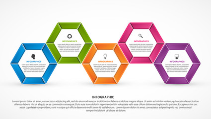 Hexagon options infographics template. Infographics for business presentations or information banner.