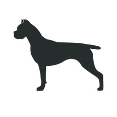 Silhouette The Cane Corso Italiano. Dog stand in black profile on white background. Design element for a logo of nursery logo, print, icon etc. Vector illustration.