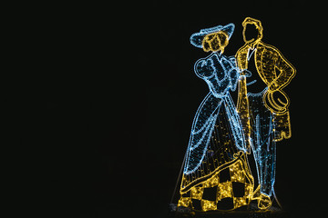 Christmas neon garlands in the form of people