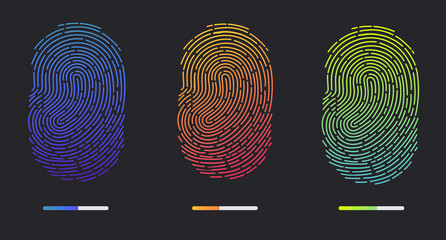 Fingerprints. Illustration of the fingerprint of different colors on a black background. Vector illustration Eps10 file
