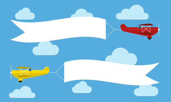 Flying planes with advertising banners. Template for text. Vector illustration