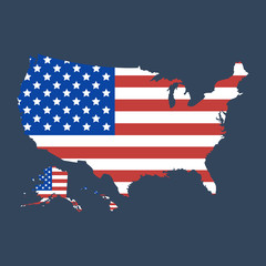 Wall Mural - USA map flag. United States of America map icon. Vector illustration