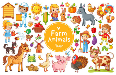 Set with farm animals. Vector collection in a cartoon children's style.