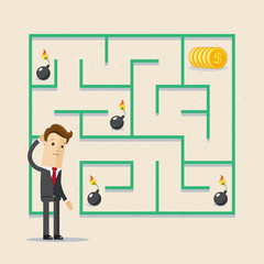 Businessman and labrinth business task. Labyrinth solution and businessman in search of profit and money.
