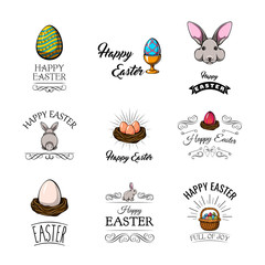 Big Collection of Happy Easter Objects. Vector Illustration.