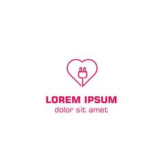 Love power, power heart. Vector logo template