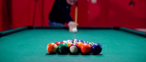 Panorama of billiard game playing