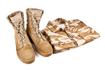 army boots and military uniform isolated on white background
