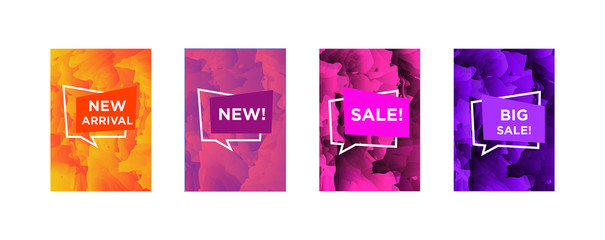 Sale web banners template for special offers advertisement. Marble colors with different colors nameplates. New arrivals concept for internet stores promo. New arrivals and sales web banners.