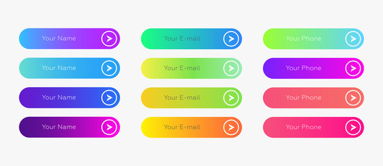 Web buttons flat design template with color gradient