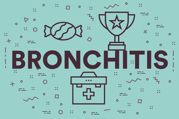 Conceptual business illustration with the words bronchitis