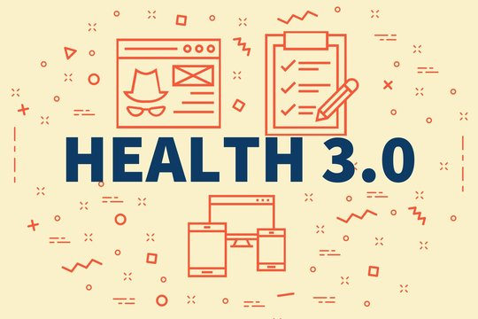 Conceptual business illustration with the words health 3.0
