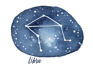 Libra Zodiac Sign in the shape of Star Constellation in the Dark Night Sky. Hand drawn watercolour drawing on white, cutout. Weighing scales. Symbol of equilibrium, balance, personal harmony.