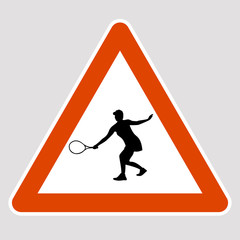 tennis player black silhouette road sign vector