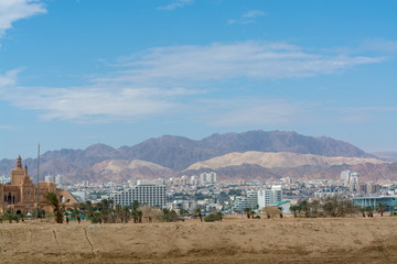 City view, panoramic view of Eilat, touristic and vacation luxury oasis in Negev desert on south of Israel at Red sea