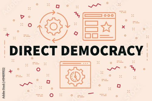 Conceptual Business Illustration With The Words Direct Democracy