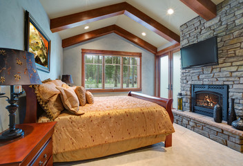 Chic master bedroom with vaulted ceiling