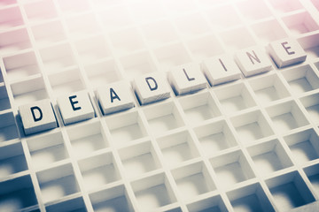 Macro Of The Word Deadline Formed By Wooden Blocks In A Typecase