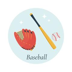 Bat, glove and ball, baseball equipment