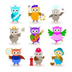 Poster Uilen cartoon Collection cartoon owls of different professions. Doctor, painter, waiter, builder, guitarist, ballerina, tennis player, fireman, farmer.