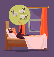Man character can not sleep and count sheep. Insomnia concept. Vector flat cartoon illustration