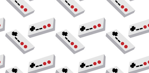 A pattern of gray and white old retro vintage hipster joysticks, manipulators, consoles from the 80's, 90's for a game console for video games on a white background. Vector seamless illustration