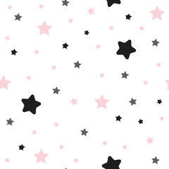 Cute seamless pattern with pink and black stars.