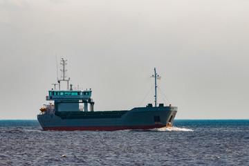 Grey cargo ship