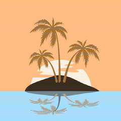BEACH THEME. vector striped illustration of the wave, tropical island palm trees and the sun