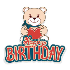 Happy birthday greeting cards with a cheerful teddy bear