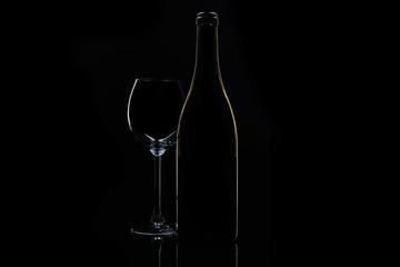 Contours of drinking wine stuff in studio