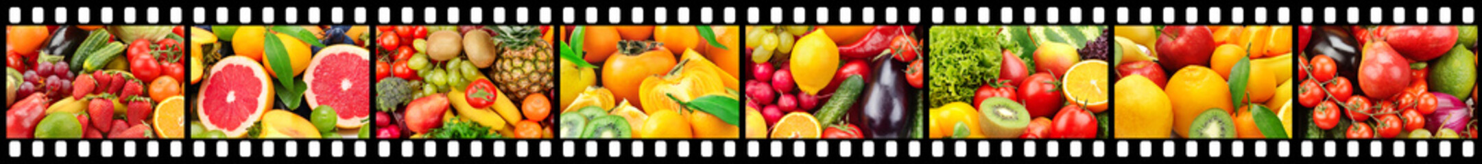 Wide frame in form of film strip with fruits and vegetables.