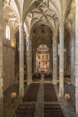 interior of the church of the Jeronimos Monastery in Lisbon, Portugal, Europe