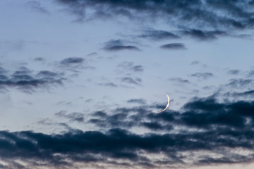 Young moon in evening sky