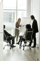 Multi-ethnic business partners discussing new idea in boardroom with flipchart, businesswoman coach explaining teaching diverse businesspeople group at team meeting, corporate training, vertical