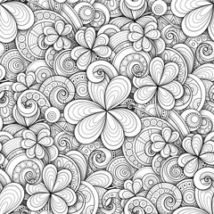 Monochrome Doodle St Patrick's Day Seamless Pattern. Decorative Clover Leaf Talisman, Abstract Coins and Swirl. Elegant Natural Background. Coloring Book Page. Vector 3d Ornate Illustration