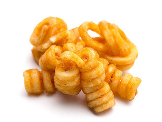 Seasoned Curly Fries on a White Background