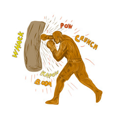 Drawing sketch style illustration of a boxer boxing punching hitting the punching bag with words pow, whack, kapow, boom, crunch on isolated background.