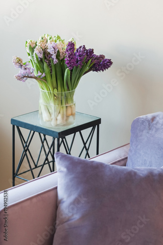 Glass Vase With Hyacinth Flowers Of White Pink Purple And Dark