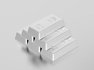 3D illustration pyramid of silver ingots bullion